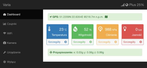 Varia-class device's portal (dashboard) available through WiFi (iPad)