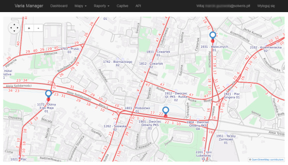 Varia Manager (maps) available though web browser